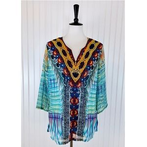 New Direction • Teal Multi Color V-Neck Tunic • L